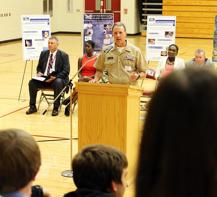 NSCW's Commanding Officer Captain Jeffery Elder addresses students and staff at the kick-off event