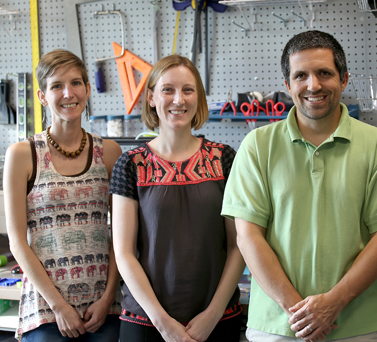 Visiting professor Amber Simpson, Alice Anderson with the Science Museum of Minnesota and associate professor Adam Maltese in the Make Innovate Learn Lab (MILL)