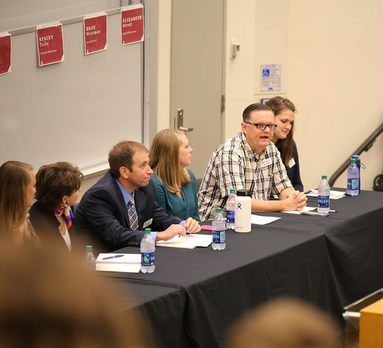 Armstrong educator Dean Westman shares advice to future teachers during the panel discussion