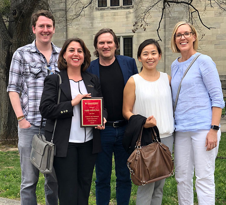 IST Ph.D. students Susan Loucks, and Mike Karlin and Janet Liao with Gamze Ozogul (second from left) and Thomas Brush (center)