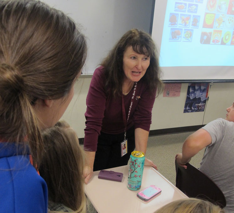 Fiona Jeffries, a Fulbright visiting teacher from New Zealand, presents about her home country to students at Bloomington North High School.